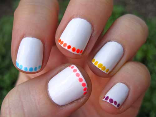Colorful Simple French Tip Polka Dots Nail Art