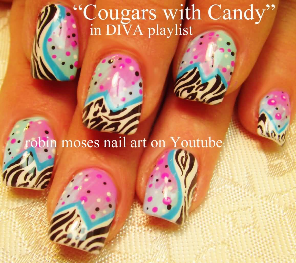 Cougars With Candy Zebra Print Nail Art