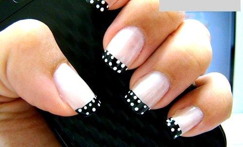 Cute French Tip Black And White Polka Dot Nail Art