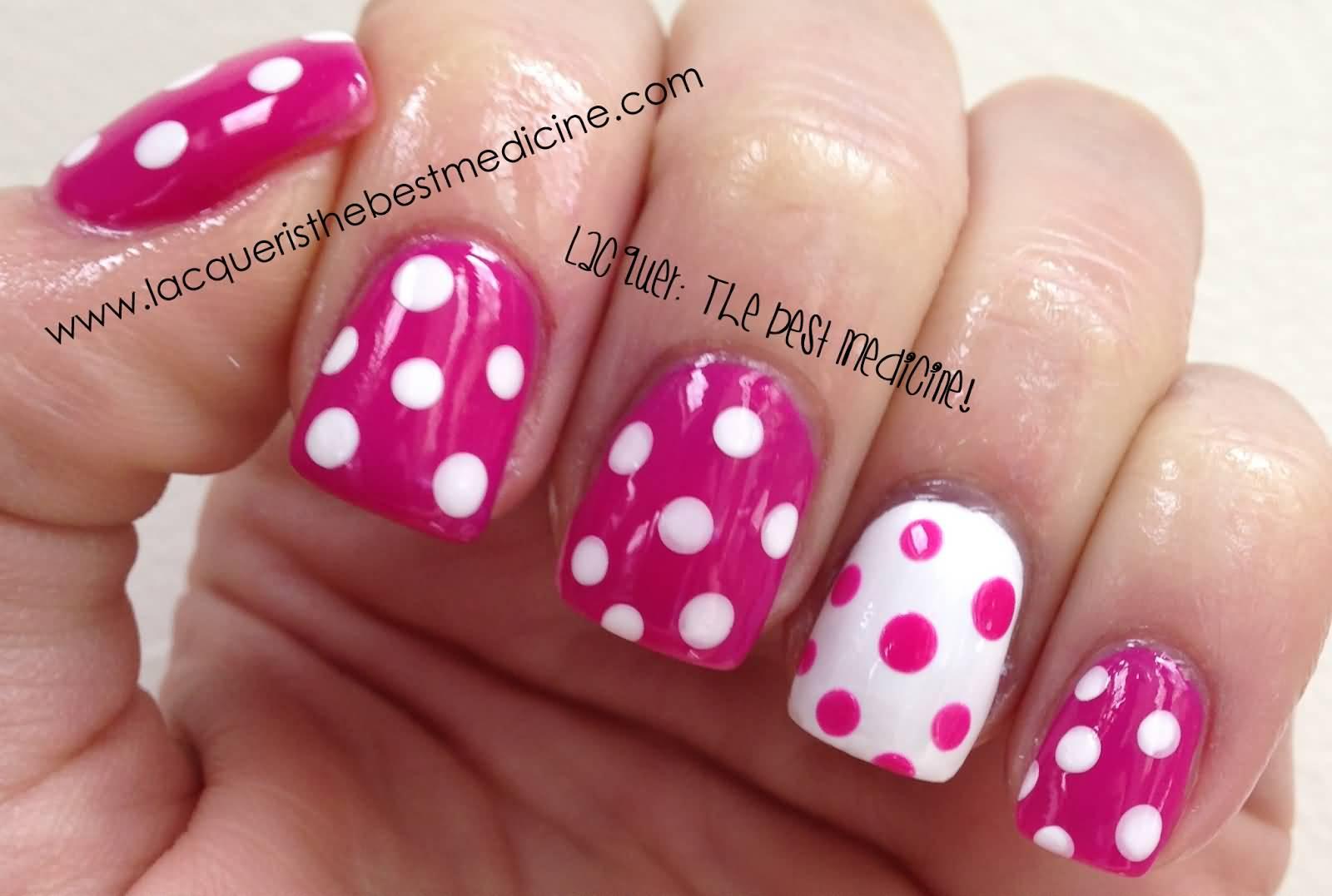 35 beautiful pink polka dots nail art designs cute pink and white polka dots nail art prinsesfo Image collections