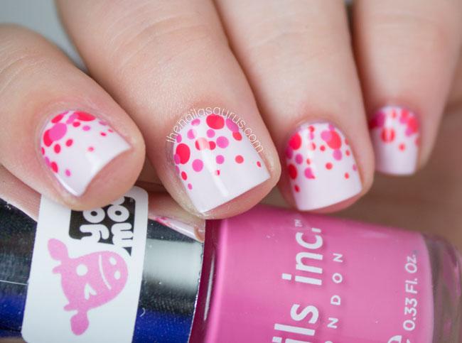 Cute Pink Polka Dots Nail Art Design