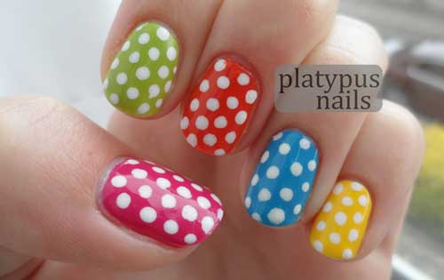 Cute White Polka Dots Nail Art - 55+ Most Stylish Polka Dots Nail Art Design Ideas