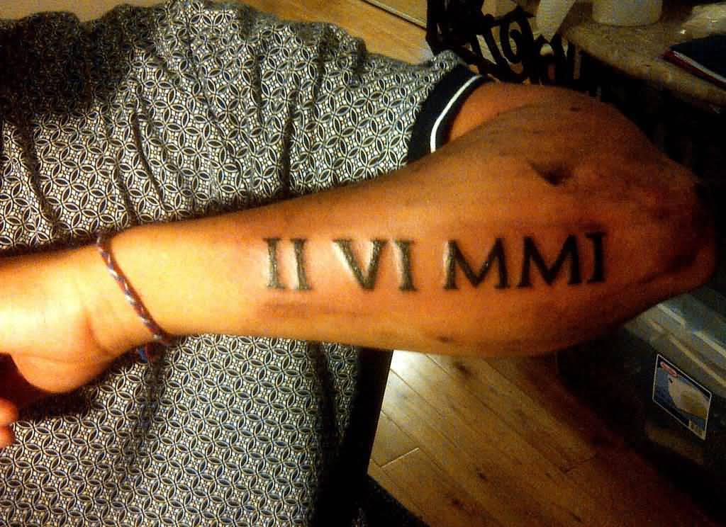 9 roman numeral tattoos on arm. Black Bedroom Furniture Sets. Home Design Ideas