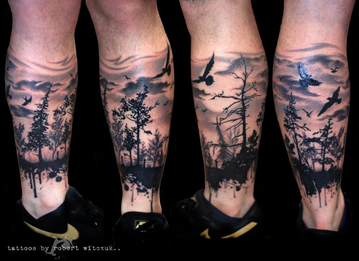 12 forest tattoos on leg. Black Bedroom Furniture Sets. Home Design Ideas