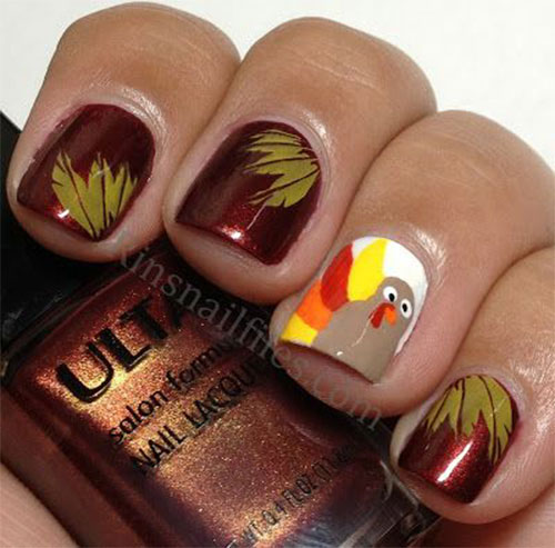 The Polish Playground Glittery Autumn Leaf Nail Art: 50 Most Beautiful Thanksgiving Nail Art Design Ideas