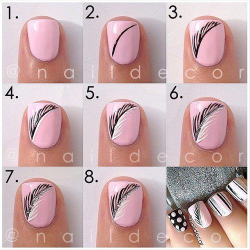 Feather Nail Art Tutorial Design