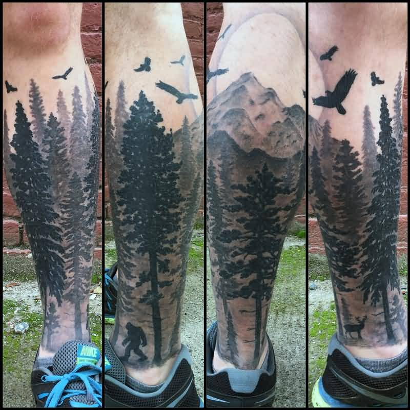 Dark Ink Flying Birds And Forest Tree Tattoo On Leg