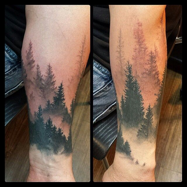 721a34a75 Forest Tattoo On Left Arm For Men