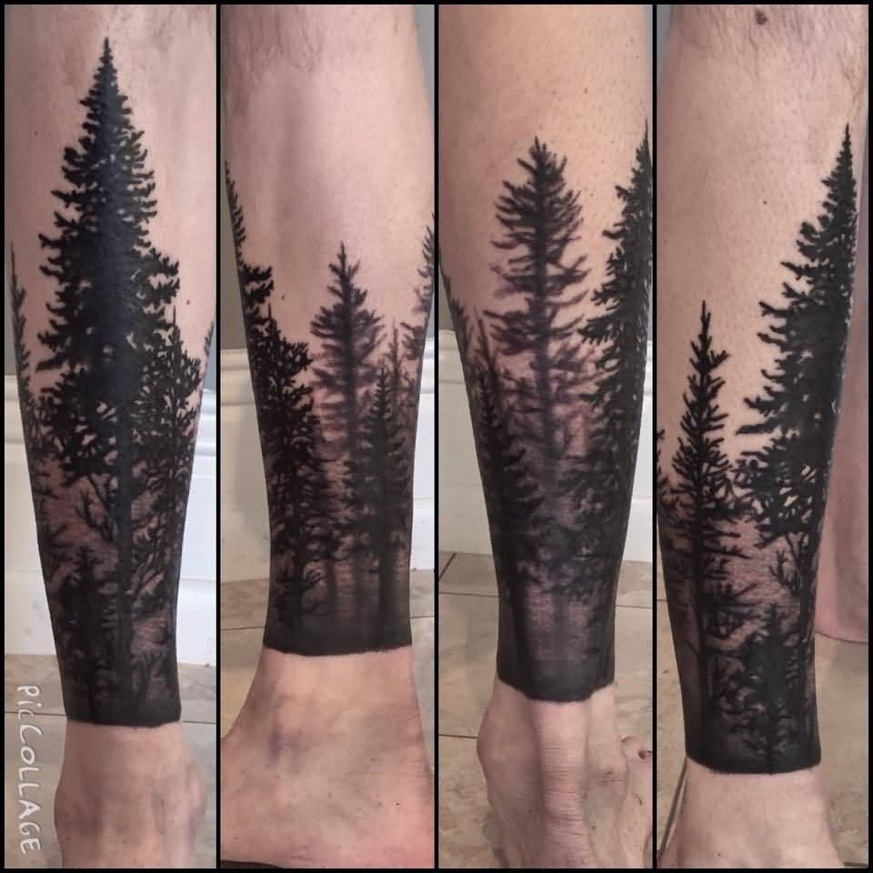 12 forest tattoos on leg. Black Bedroom Furniture Sets. Home Design Ideas