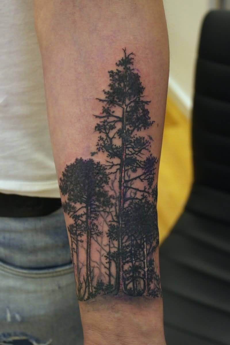 d4cf7e0e0 Forest Tattoo On Man Left Arm