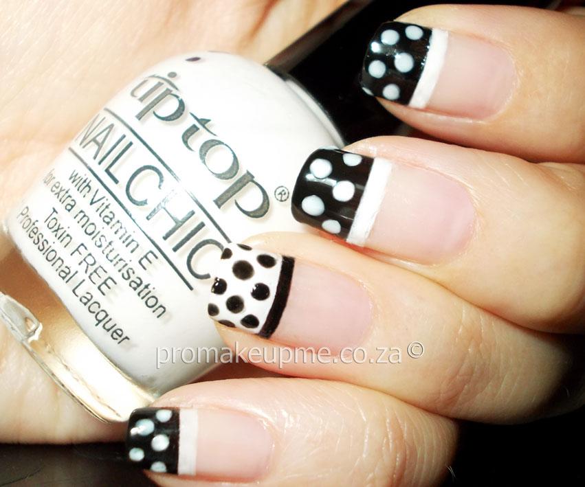 French Tip Black And White Polka Dot Nail Art