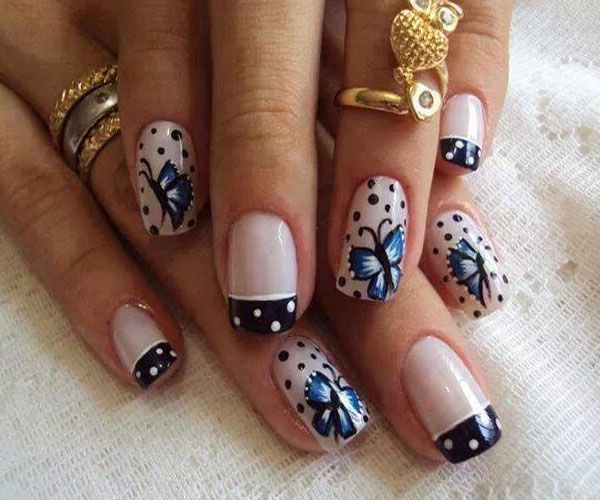 French Tip Black And White Polka Dots Nail With Butterflies Design