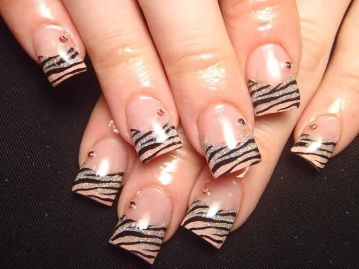 French Tip Zebra Print Nail Design Idea