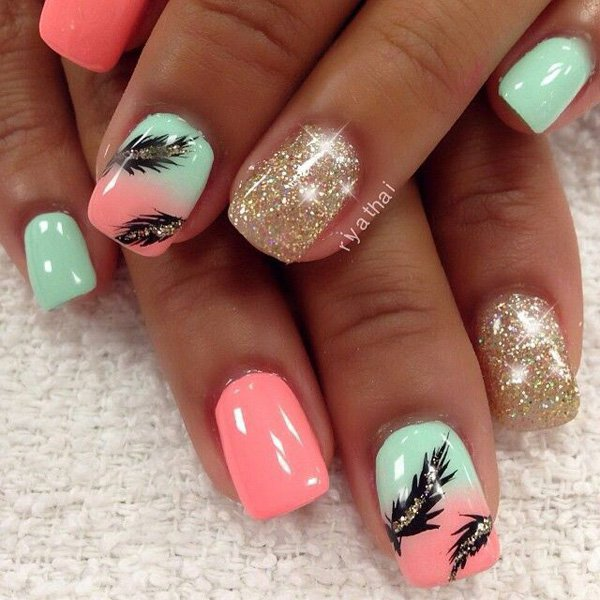 - Green And Pink Ombre Nails With Black Feather Nail Art