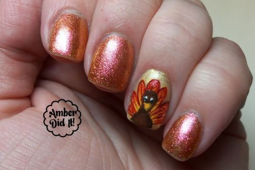 Glitter Gel Nails With Accent Turkey Face Thanksgiving Nail Art - 50 Most Beautiful Thanksgiving Nail Art Design Ideas