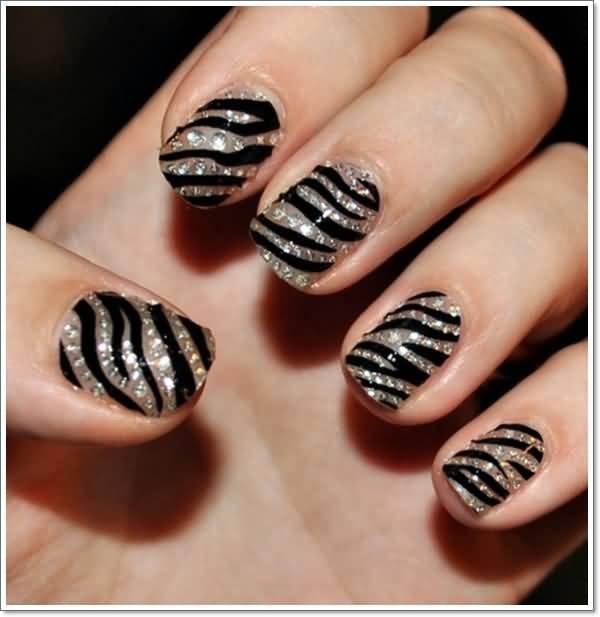 - Glitter And Black Stripes Zebra Print Nail Art