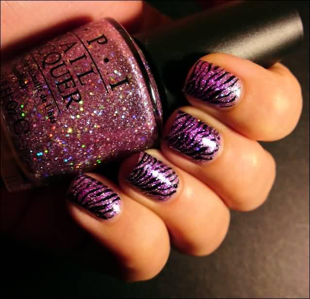 Glitter Zebra Print Nail Art