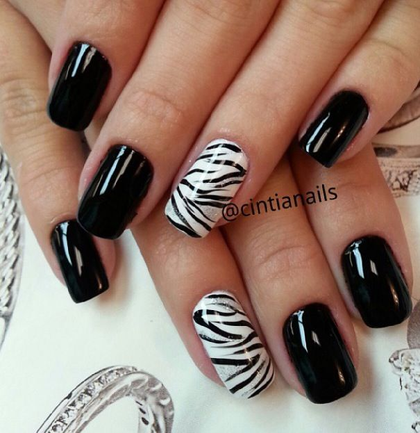 Glossy Nails With Accent Zebra Print Nail Art