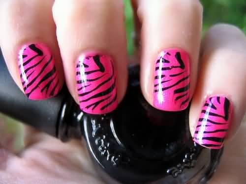 Glossy Pink Zebra Print Nail Art