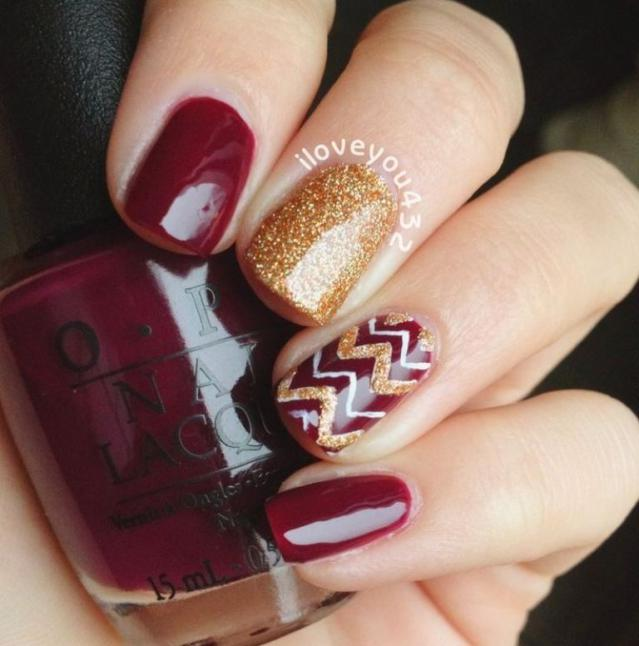 Gold And Brown Chevron Design Thanksgiving Nail Art