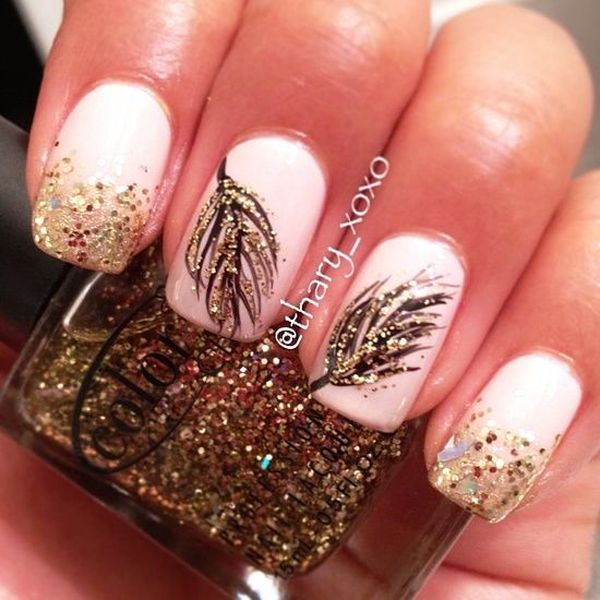 - Gold Glitter Feather Nail Art