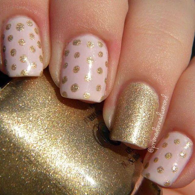 Gold Glitter Polka Dots Nail Art