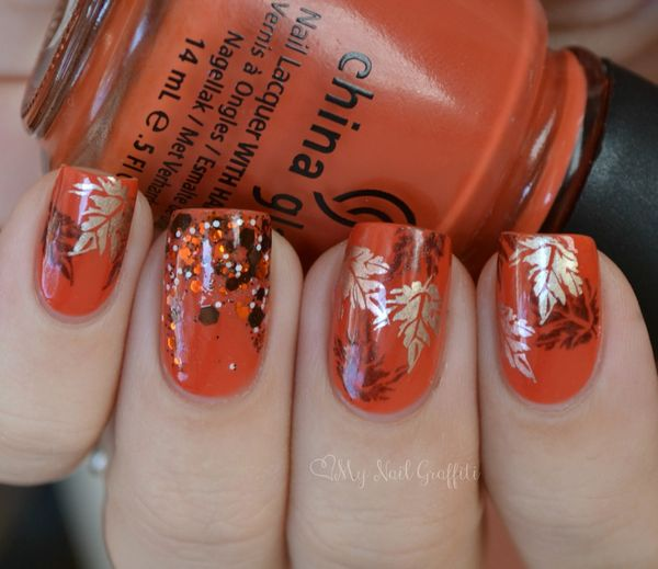 - Golden Leaves And Small Dots Thanksgiving Nail Art