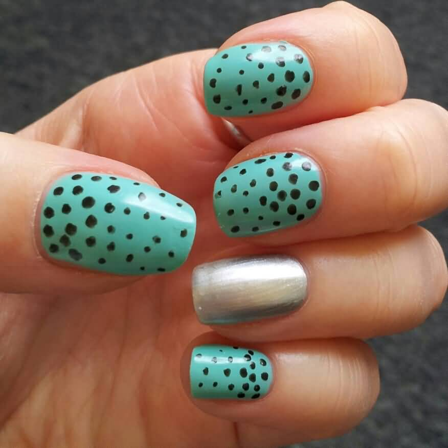 Green And Black Polka Dots Nail Design Idea