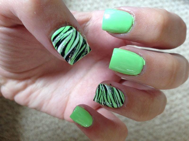 Green Black And Silver Zebra Print Nail Art