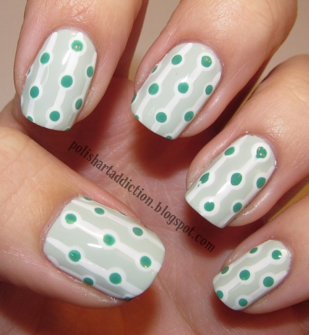 55 best polka dots nail art design ideas for trendy girls green polka dots nail art pattern prinsesfo Images