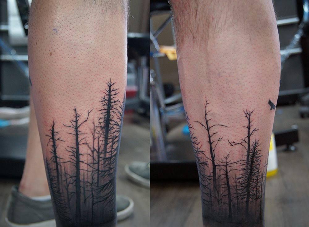 12 forest tattoos on leg for Leg sleeve tattoo ideas
