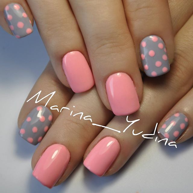 Grey And Pink Polka Dots Nail Art