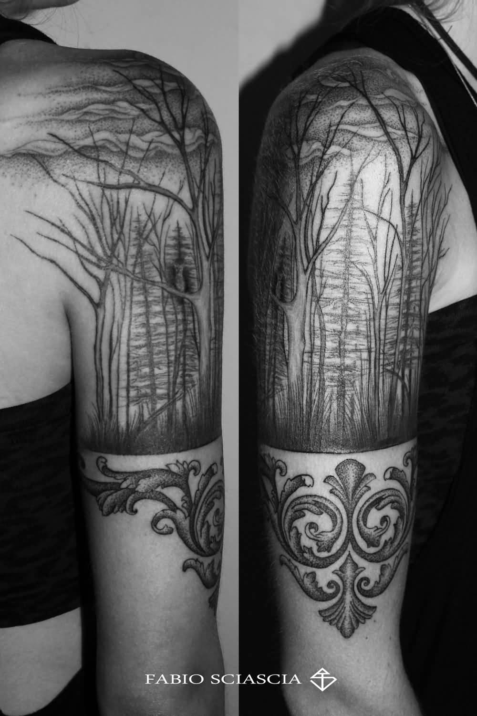 b8b3f199c Grey Ink Dry Forest Tattoo On Half Sleeve