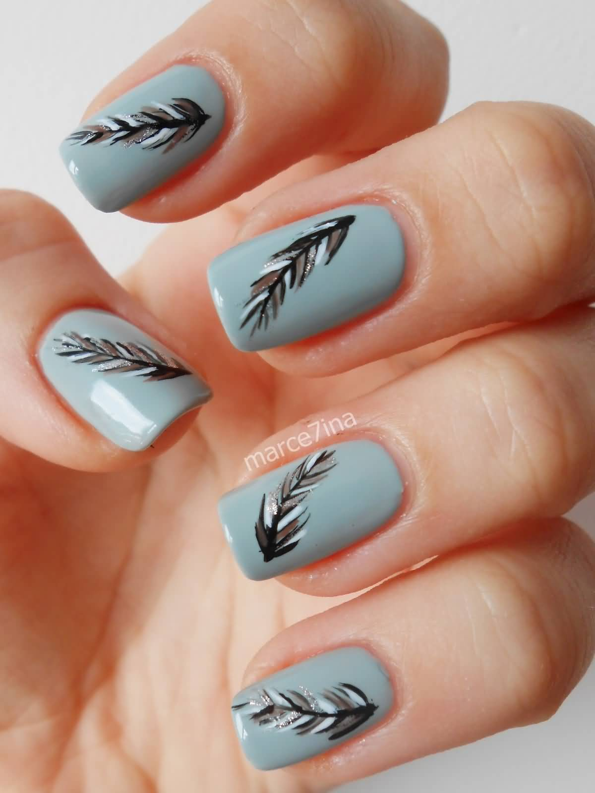 Grey Nails With Feathers Nail Art Design - 50 Latest Feather Nail Art  Design Ideas - - Grey Nail Art Graham Reid