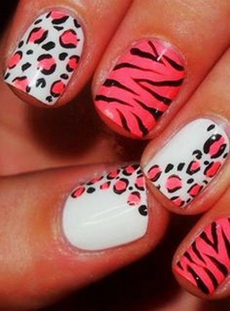 Leopard Print And Zebra Print Design Nail Art
