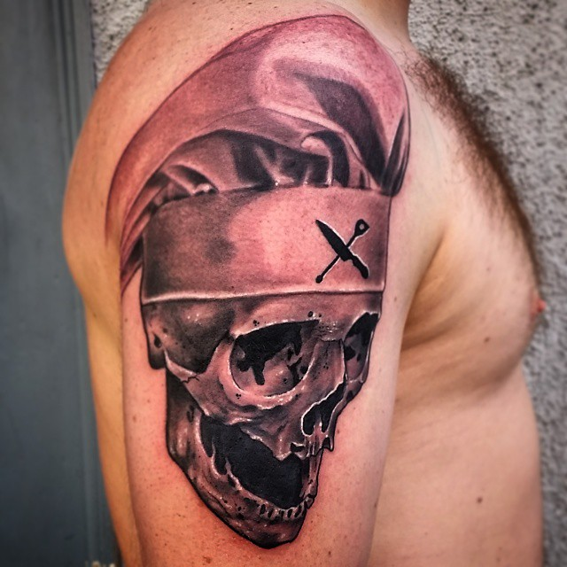 Skull With Chef Hat And Knife Tattoos  Chef Hat Tattoos