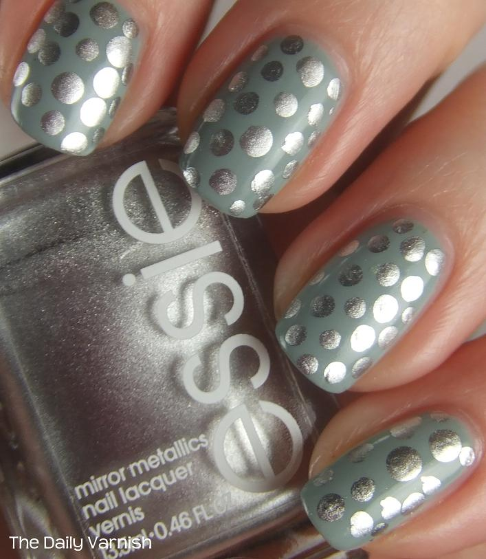 Metallic Polka Dots Nail Art Design