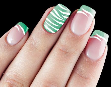 Mint Green White Zebra Print Nail Art