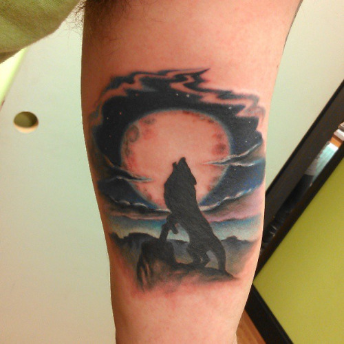 Coyote howling at the moon tattoos