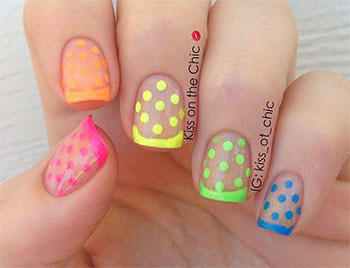 Multicolored Polka Dots Nail Design