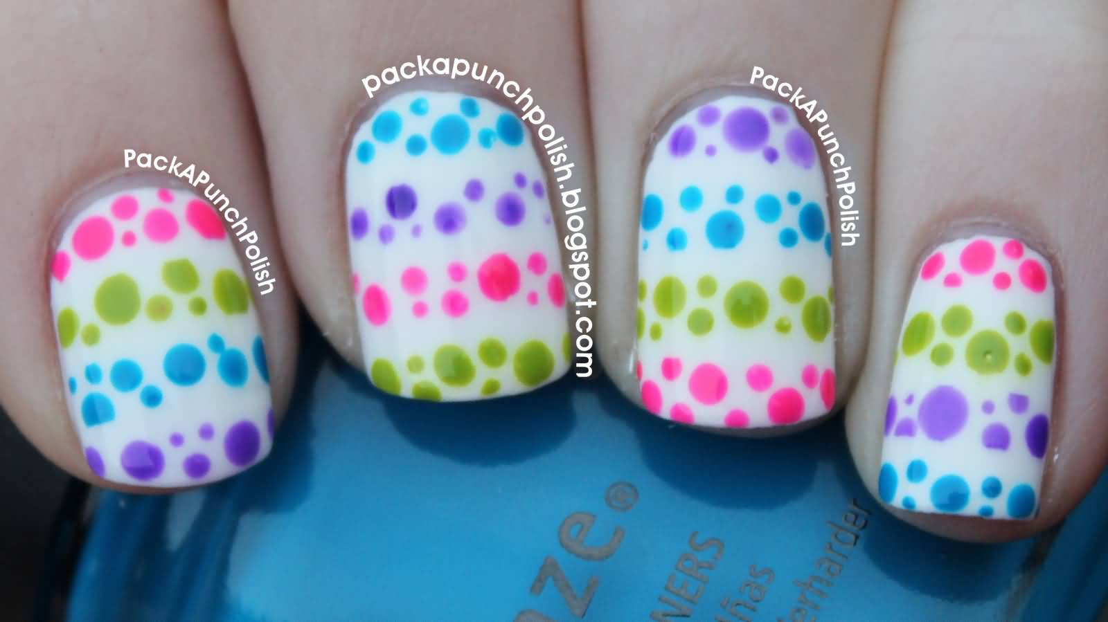 Multicolored Polka Dots Nail Art On Whits Nails