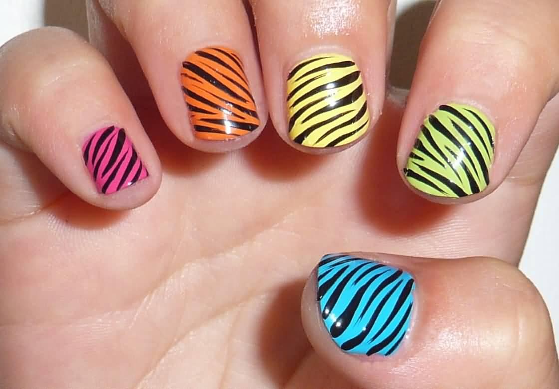 - Multicolored Zebra Print Nail Art