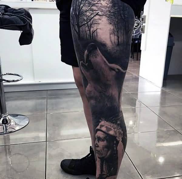 Native American And Dark Forest Tattoo On Full Leg on tattoos nightmare christmas