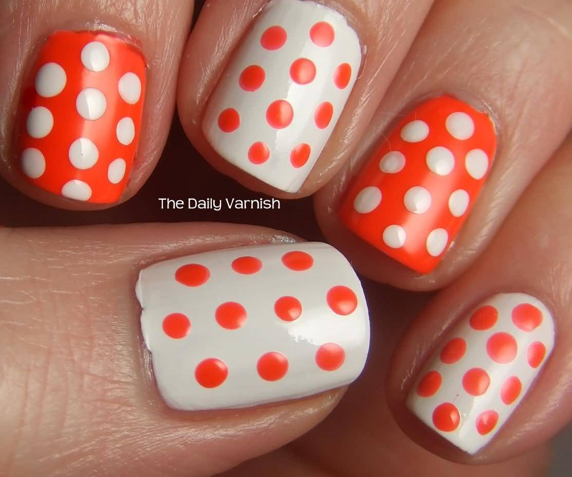 Orange And White Polka Dots Nail Art