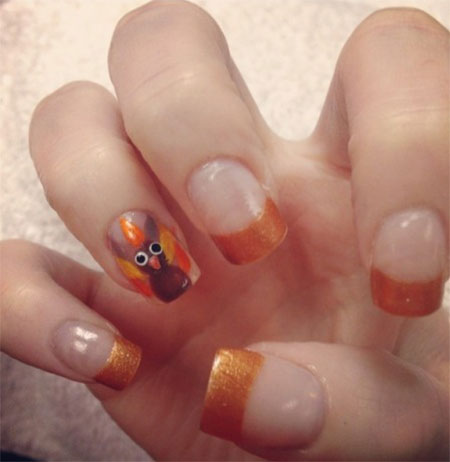 Orange French Tip With Accent Turkey Design Thanksgiving Nail Art