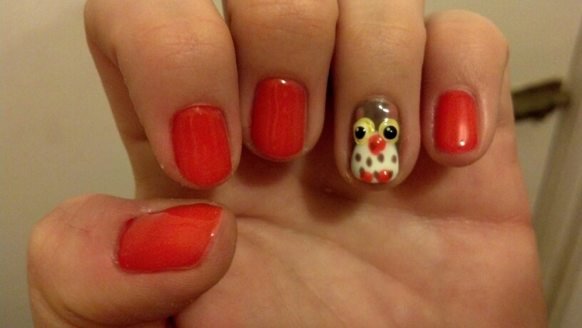Orange Nails With 3D Owl Thanksgiving Nail Art - 50 Most Beautiful Thanksgiving Nail Art Design Ideas
