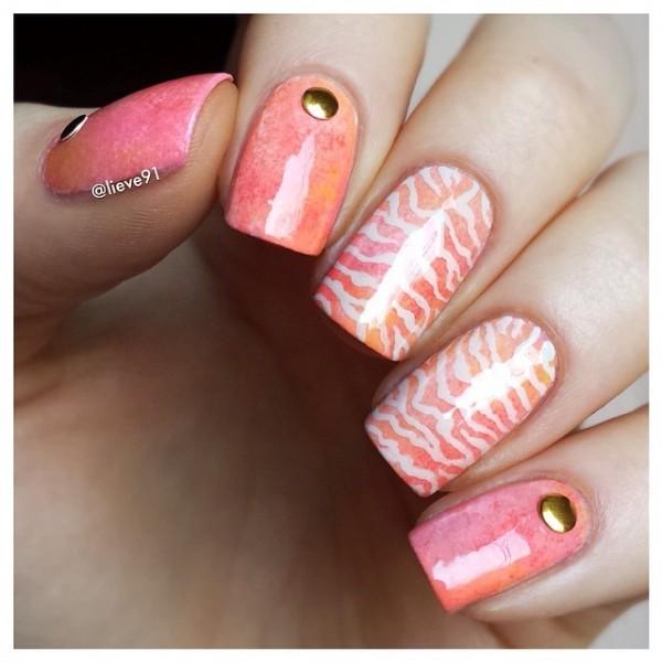 Pastel Gradient Zebra Print Nail Art
