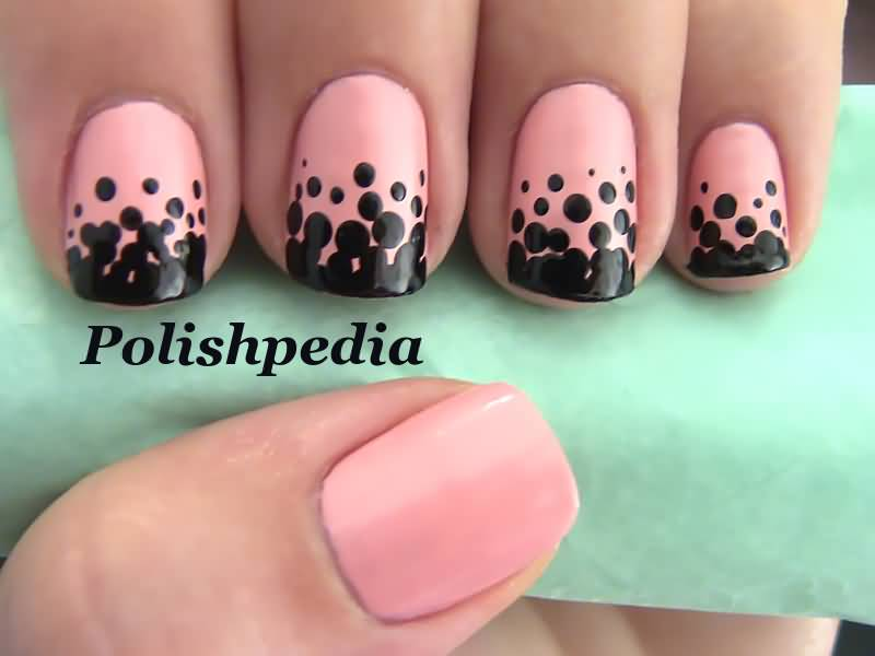 Peach And Black Polka Dots Nail Art Design Idea
