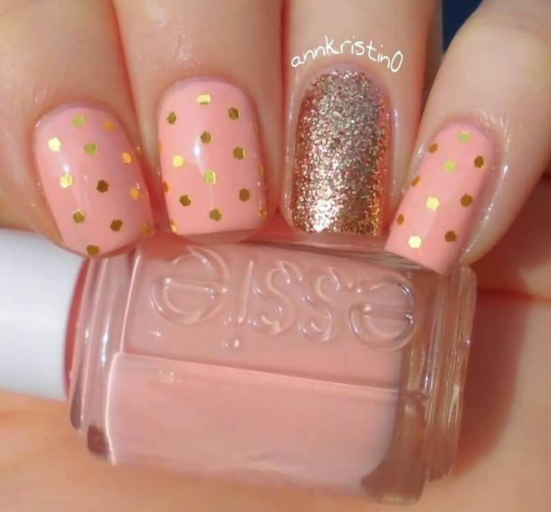 Peach Nails With Gold Polka Dots Nail Art - 55+ Best Polka Dots Nail Art Design Ideas For Trendy Girls