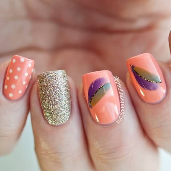 Peach Nails With Purple And Green Feather Nail Art